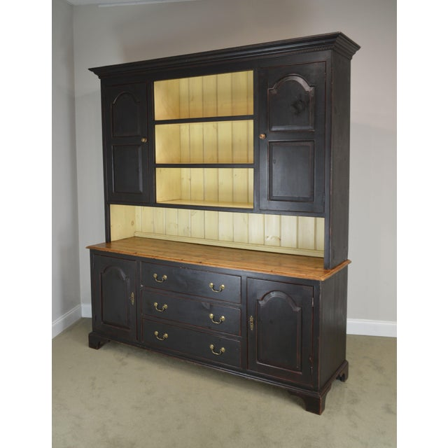 Wood Monumental Custom Crafted Reproduction Country Painted Pine Step Back Hutch For Sale - Image 7 of 13