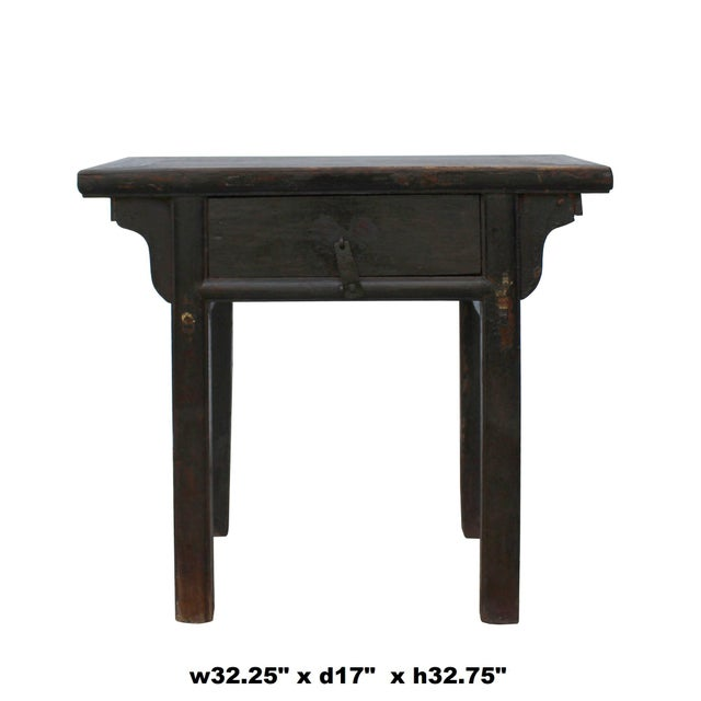 Chinese Iron Hardware Drawer Distressed Brown Side Table For Sale In San Francisco - Image 6 of 7