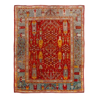 Late 19th Century Antique Turkish Oushak Wool Rug 12 X 14 For Sale