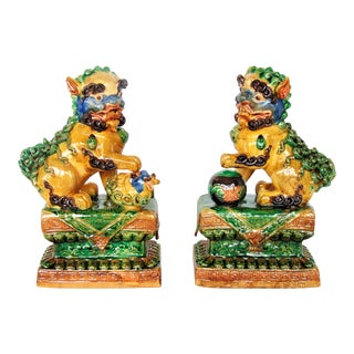 Large Chinese Foo Dog Lions on Base - a Pair
