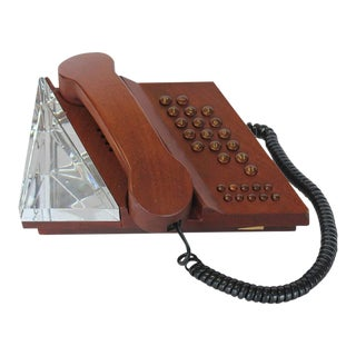 Swedish Mahogany & Orrefors Crystal Phone For Sale