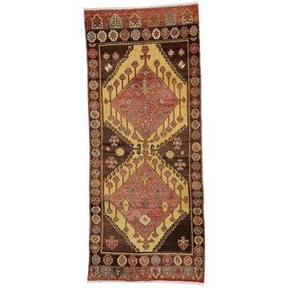 Vintage Turkish Oushak Tribal Style Wool Hallway Runner Rug - 3′9″ × 9′ For Sale