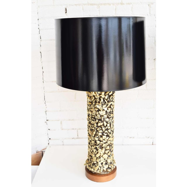 1970s Gilt Ceramic Nugget Lamps - A Pair For Sale - Image 5 of 11