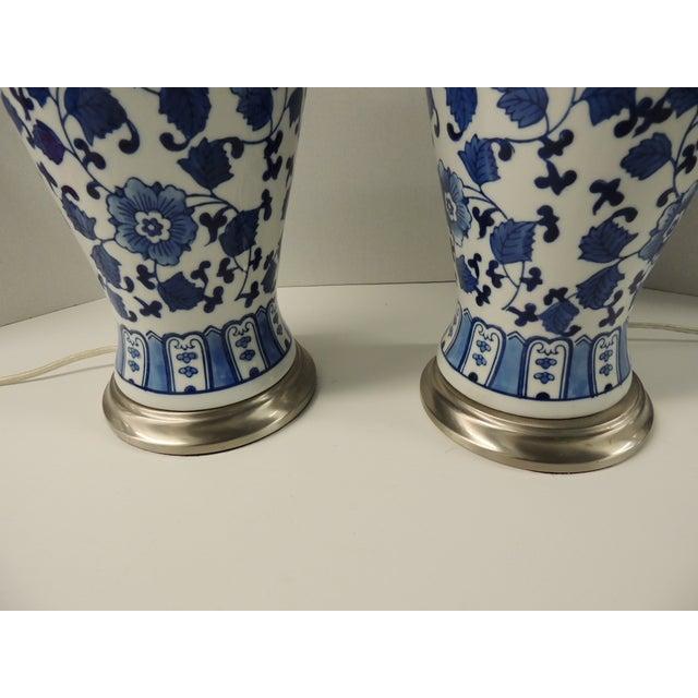 Vintage Blue & White Ceramic Lamps - Pair - Image 4 of 5