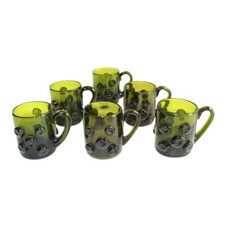 Set of Six Mid-Century Modern Demitasse Glass Mugs in Dark Green For Sale