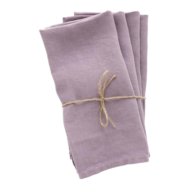 Madame de la Maison Lavande Linen Napkins - Set of 4 For Sale