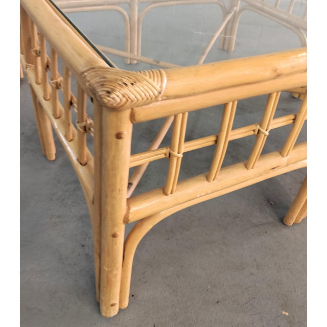 Wood Vintage Boho Chic Rattan Coffee Table For Sale - Image 7 of 9