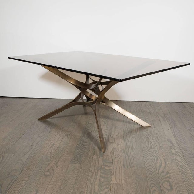 Mid-Century Modern Mid-Century Cocktail Table in Bronze and Glass by Roger Sprunger for Dunbar For Sale - Image 3 of 7