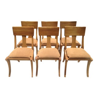 Mid Century Modern Klismos Style Wooden Dining Chairs - Set of 6