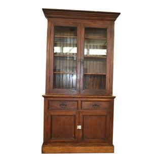 Late 19th Century Farmhouse Oak China Cabinet For Sale