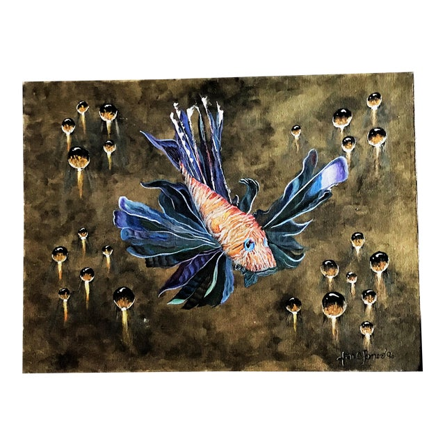 Modern Signed Fran C. Romero 1996 Tiger Fish Surrealism Oil on Canvas For Sale