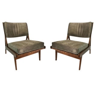 Vintage Jens Risom Pair of Walnut Lounge Chairs 'Labelled'