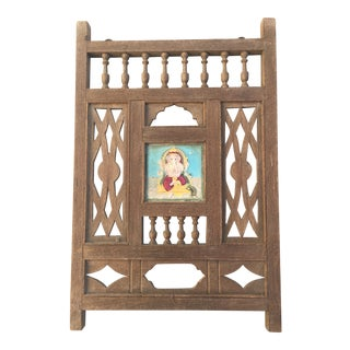Antique Ganesh Indian Wooden Window Fragment For Sale