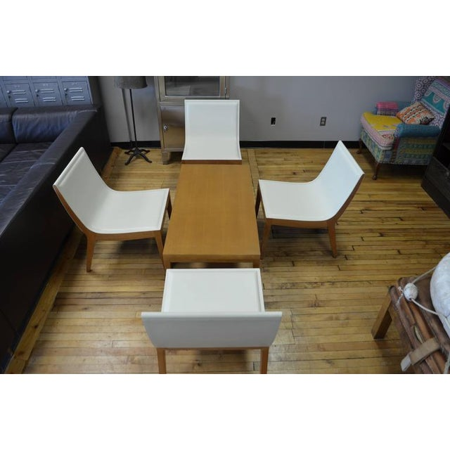 White Italian Leather Chairs Maple Coffee Table Set Of 5 Chairish