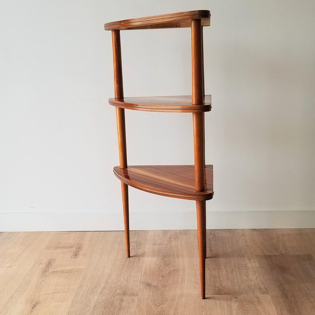 Mid-Century Modern Mid 20th Century Italian Mid-Century Modern Corner Three Tiered Shelf For Sale - Image 3 of 12