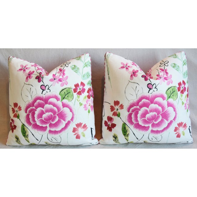 "French Manuel Canovas Floral Linen Feather/Down Pillows 20"" Square - Pair For Sale In Los Angeles - Image 6 of 13"