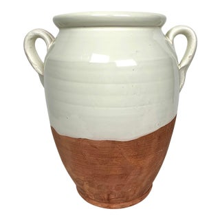 Italian Terracotta White Glazed Double Handled Urn Vase For Sale