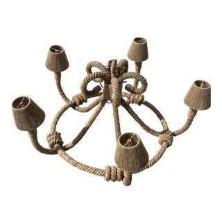 Nautical Light - Jamie Young Nautique Chandelier Jute Candle For Sale