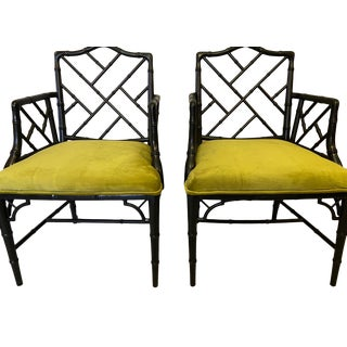 Vintage Faux Bamboo Green Velvet Arm Chairs - A Pair For Sale
