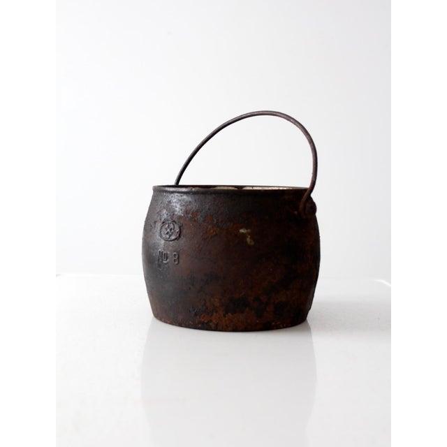Antique Cast Iron Pot For Sale - Image 4 of 9