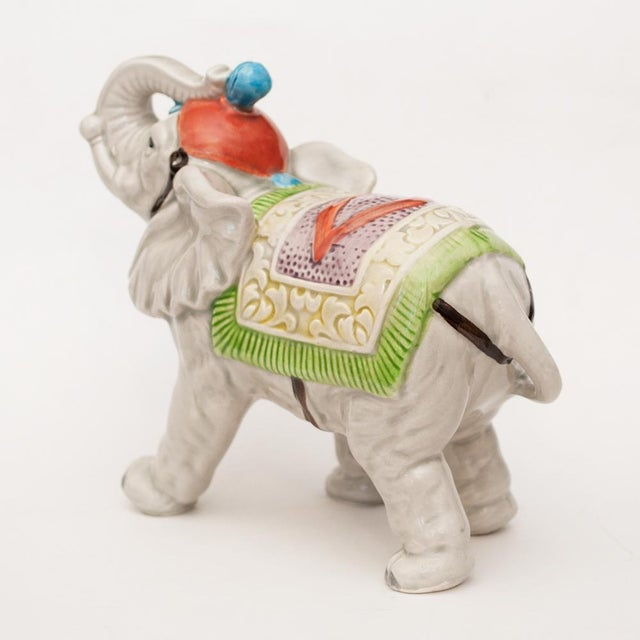 Light Gray 1983 Japanese Porcelain Circus Elephant Figurine or Bookend For Sale - Image 8 of 13