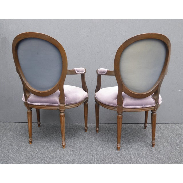 Vintage Baker Furniture French Provincial Purple Striped Arm Chairs - A  Pair - Image 10 of - Vintage Baker Furniture French Provincial Purple Striped Arm Chairs