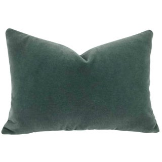 Modern Rose Tarlow Lugano Mohair Blue Lagoon -Smokey Teal Velvet Lumbar Pillow Cover For Sale