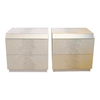 1980s Modern Laminate Nightstands With Mirror Accents - a Pair For Sale