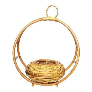 1950s Vintage Hoop Hanging Basket Bentwood Planter For Sale