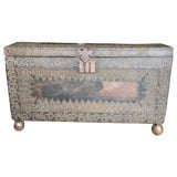 Image of Incredible Very Old Spanish Trunk Encrusted With Brass Decorative Tacks For Sale