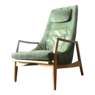 1950s Vintage Suede Lounge Armchair For Sale