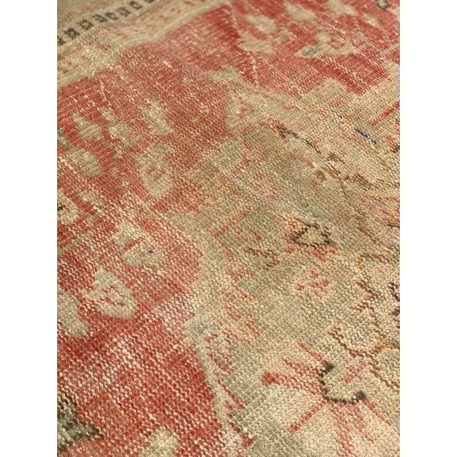 1920s Antique Distressed Turkish Oushak Area Rug - 6′6″ × 9′4″ For Sale - Image 10 of 13