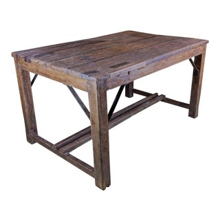 Large French Industrial Work Table For Sale
