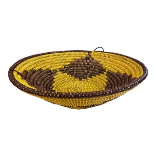 "Lg Handmade Woven Wolof Basket From Senegal 16"" in D For Sale"