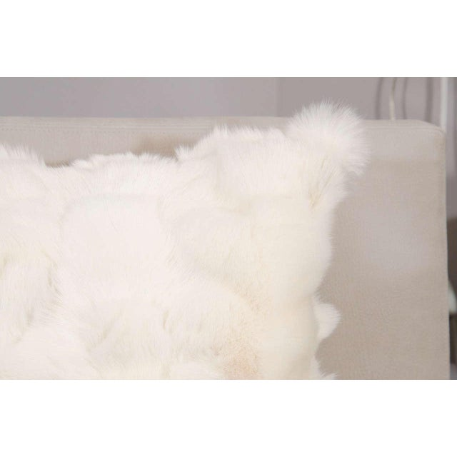 Modern Custom White Pieced Fox Pillow with Leather Backing For Sale - Image 3 of 8