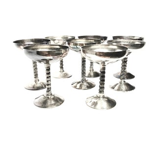 Vintage Mid-Century Spain Large Silver Plated Goblets - Set of 8 For Sale