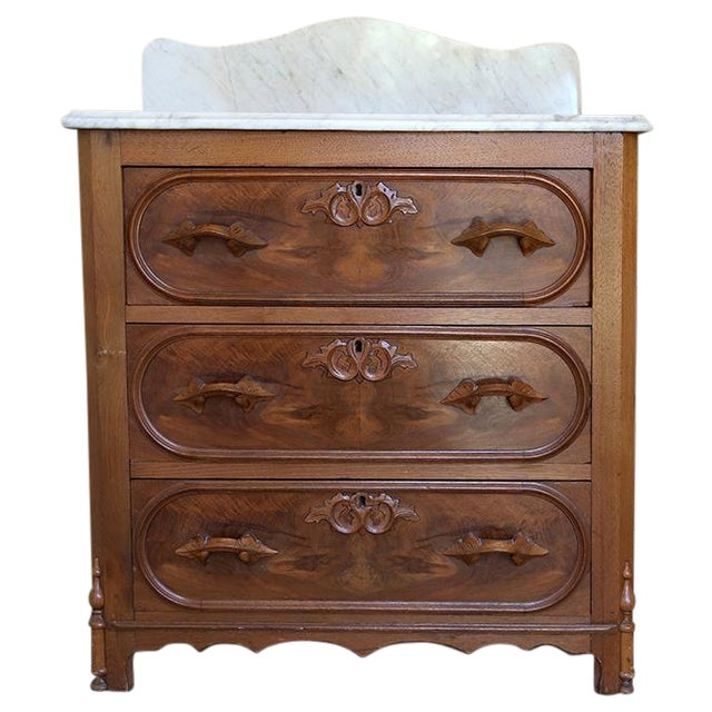 Antique Walnut Washstand with Marble Top - Image 1 of 5
