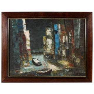 Mid-Century Modern Abstract Rowboats Painting in Original Frame, 1950's For Sale
