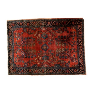 "Antique Persian Mohajeran Sarouk Square Rug - 3'9"" x 5' For Sale"