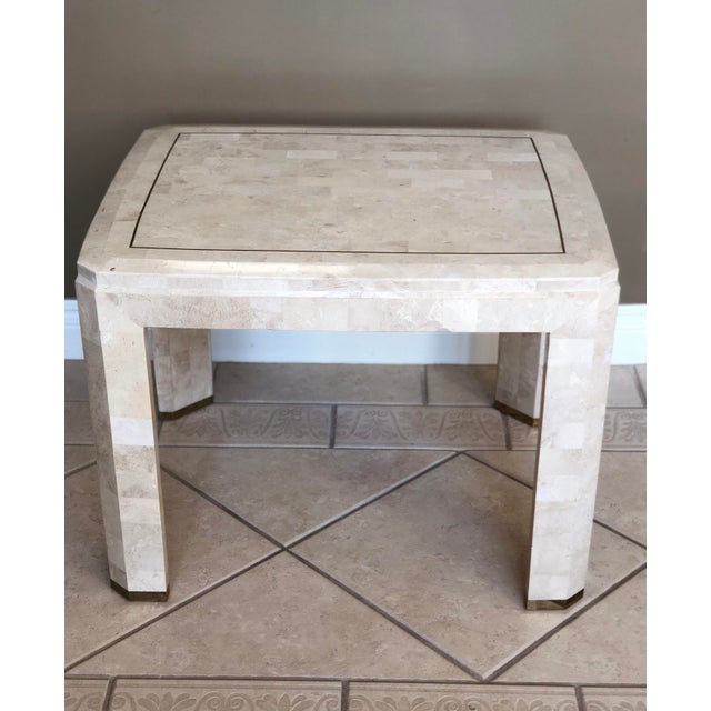 Modern 1970s Postmodern Maitland-Smith Tessellated Stone Side Table For Sale - Image 3 of 6