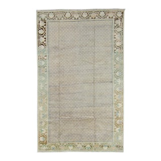 """1950s Neutral Wool Pile Hand-Knotted Rug - 4'7"""" X 7'4"""" For Sale"""