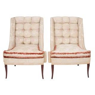 1930s Vintage Shabby Chic Wing Chairs- A Pair For Sale