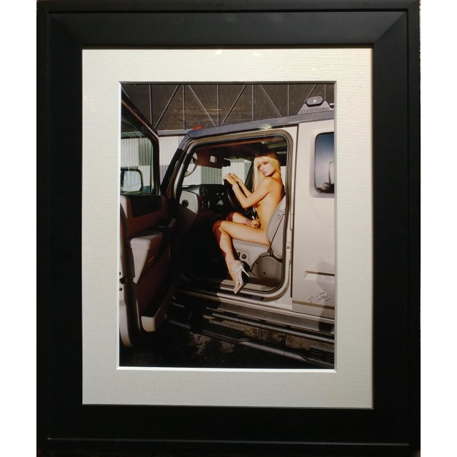 Paris Hilton Nude with Tinkerbell - Original Photograph-Signed -Rare Paris Hilton sitting in a Hummer (SUV car ) with her...