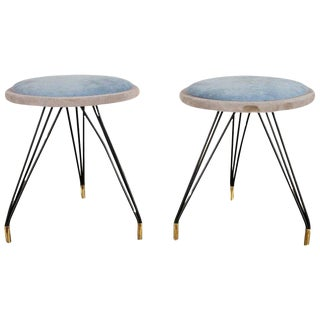 Mid-Century Modern Upholstered Stools- A Pair For Sale