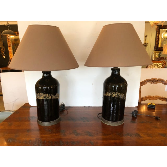 Large Antique English Apothecary Bottle Lamps With Shades - a Pair For Sale - Image 10 of 10