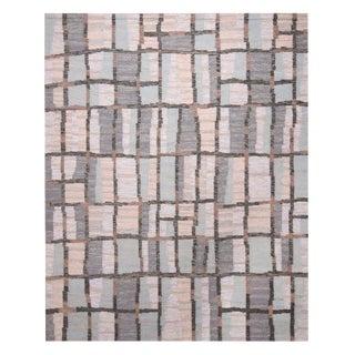 Scandinavian Inspired Geometric Beige-Gray and Blue Wool Rug- 8′1″ × 10′1″ For Sale