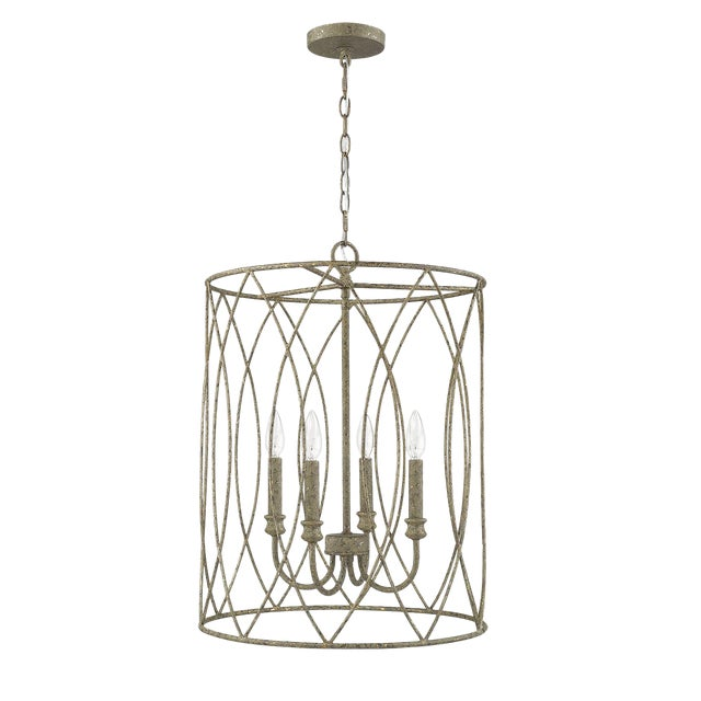 Lucie 4 Light Pendant, Rococo Grey Gold Leaf For Sale