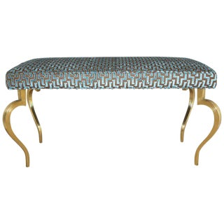 Italian Mid-Century Modernist Cabriole Leg Brass Bench For Sale