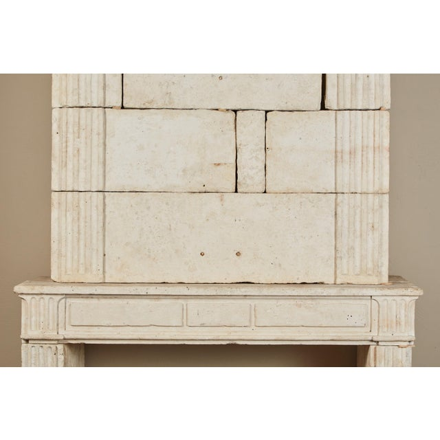 18th Century Neoclassical French Limestone Fireplace Surround For Sale - Image 4 of 9
