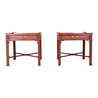 Baker Furniture Carved Mahogany Chippendale Nightstands or End Tables, Pair For Sale
